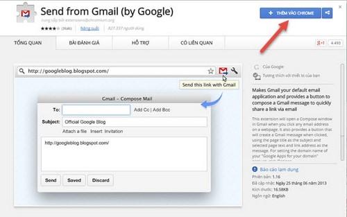 Cách gửi email trên CocCoc, Chrome không cần đăng nhập Gmail