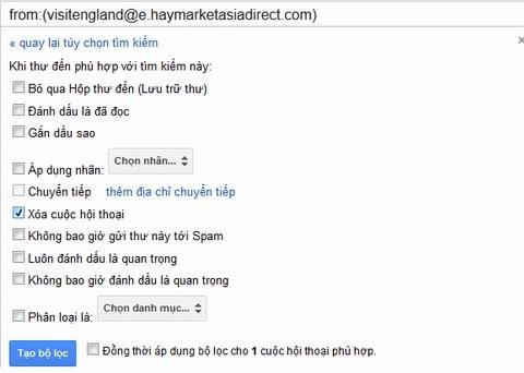 Chặn email trên gmail, lọc email spam lừa đảo