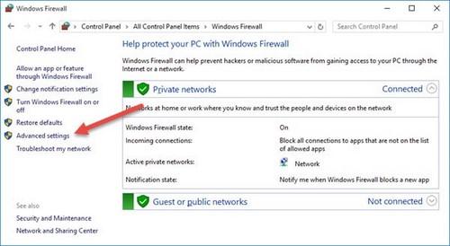 su dung firewall windows 10
