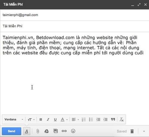 Đổi font chữ khi soạn mail trong gmail