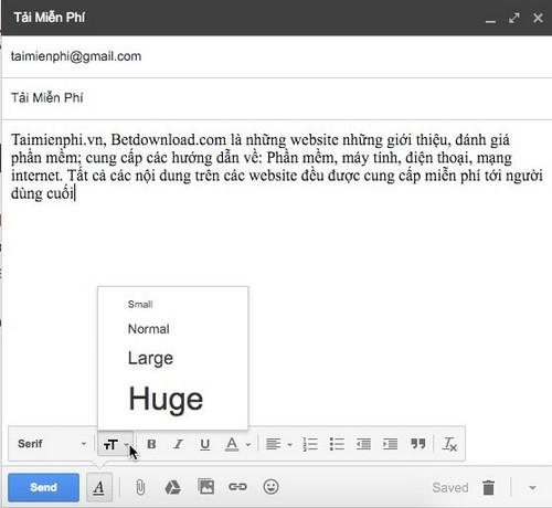 Đổi kích thước chữ khi soạn mail trong gmail