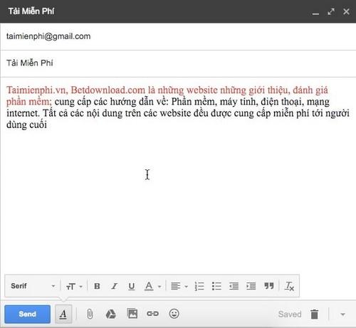 Đổi màu chữ khi soạn mail trong gmail