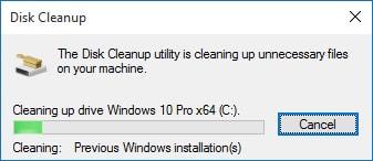 giải phóng dung lượng ổ cứng sau khi cài Windows 10
