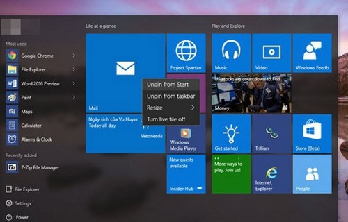sap xep start menu windows 10 thanh mot cot