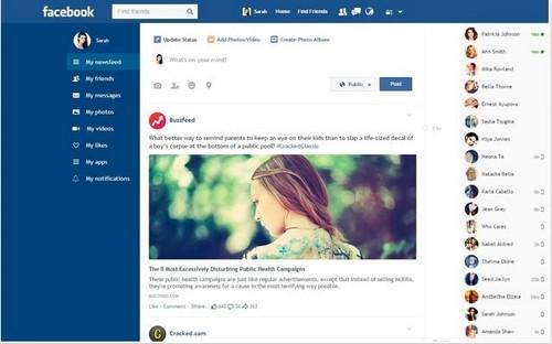 Sử dụng facebook trên giao diện phẳng