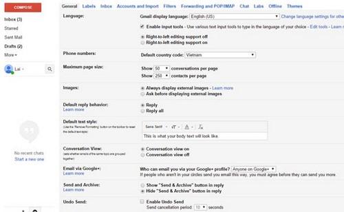 Thay đổi ngôn ngữ trong Gmail