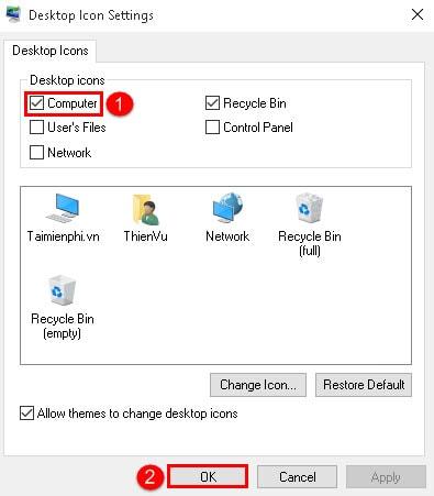 Hiển thị My Computer trên desktop Windows 10 4