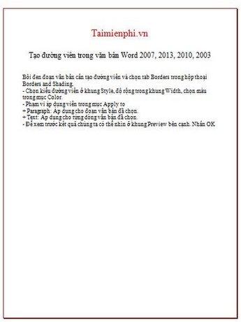 Cách tạo đường viền, làm khung, border trong văn bản Word 18
