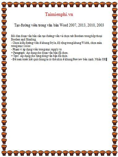 Cách tạo đường viền, làm khung, border trong văn bản Word 20