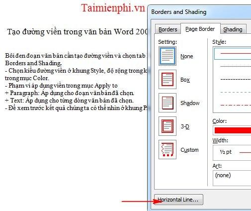 Cách tạo đường viền, làm khung, border trong văn bản Word 21