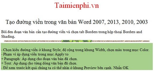 Cách tạo đường viền, làm khung, border trong văn bản Word 25