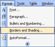 Cách tạo đường viền trong word 2003