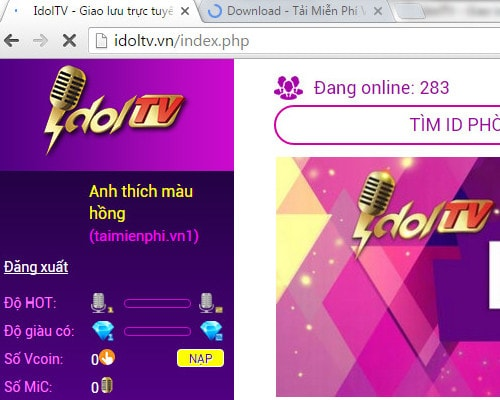 Đăng ký iDolTV chat trò truyện trực tuyến trên máy tính