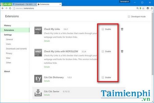 Bật tắt extension trên Cốc Cốc, add on, tiện ích mở rộng trình duyệt w