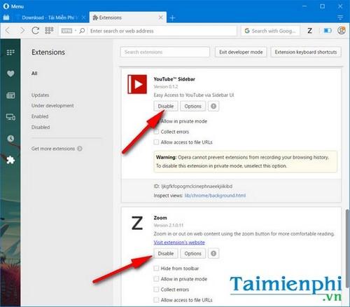 Bật tắt extension trên Opera, tiện ích mở rộng của trình duyệt web Opera