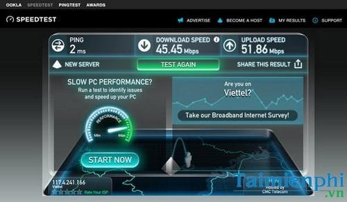 Kiểm tra tốc độ mạng Viettel, test đường truyền mạng Viettel 2