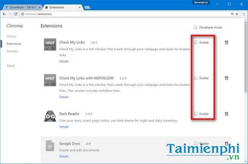 Vô hiệu hóa, bật extension trên Chrome, Firefox, Opera, Cốc Cốc