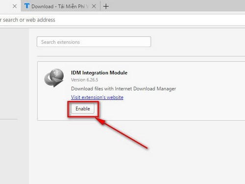 Bật, tắt IDM CC trên Opera, tiện ích tải file trên trình duyệt web Opera