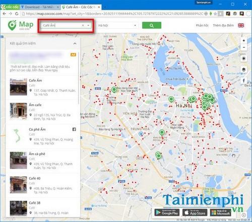 Dùng Cốc Cốc Map tìm quán cà phê gần nhất