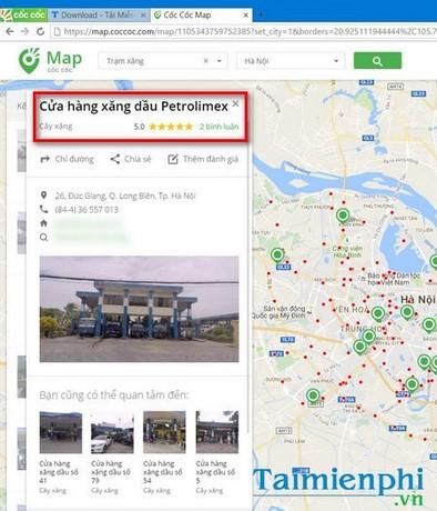 Dùng Cốc Cốc Map tìm trạm xăng gần nhất