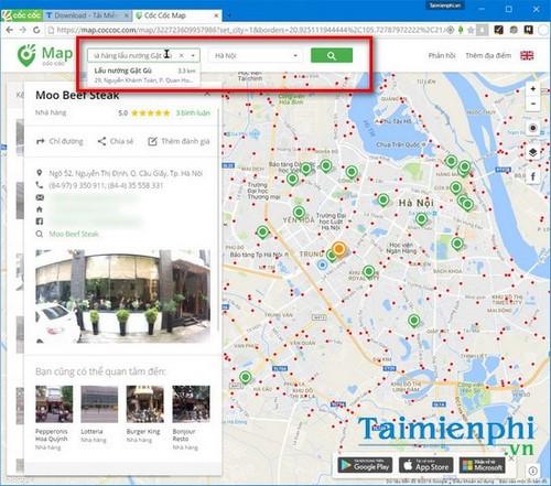 Tìm nhà hàng gần nhất bằng Cốc Cốc Map