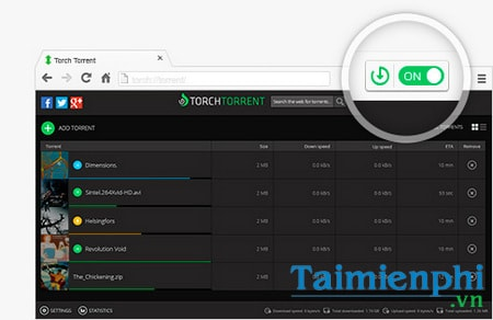 tai file torrent tren trinh duyet torch browser