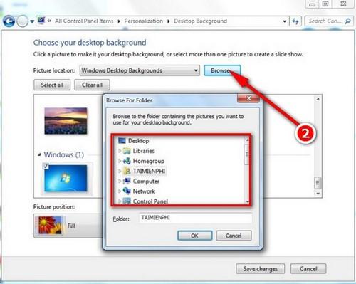 Đổi hình nền máy tính win 7, thay ảnh màn hình destop, laptop Windows 7 3