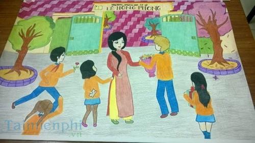 Bộ sưu tập tranh vẽ cô giáo và học sinh, tranh vẽ kỷ niệm 20/11 9