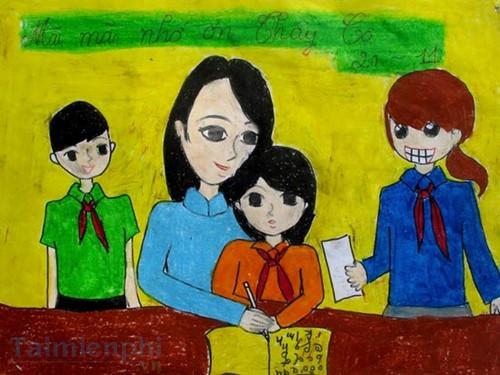 Bộ sưu tập tranh vẽ cô giáo và học sinh, tranh vẽ kỷ niệm 20/11 10