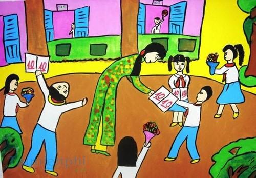 Bộ sưu tập tranh vẽ cô giáo và học sinh, tranh vẽ kỷ niệm 20/11 11