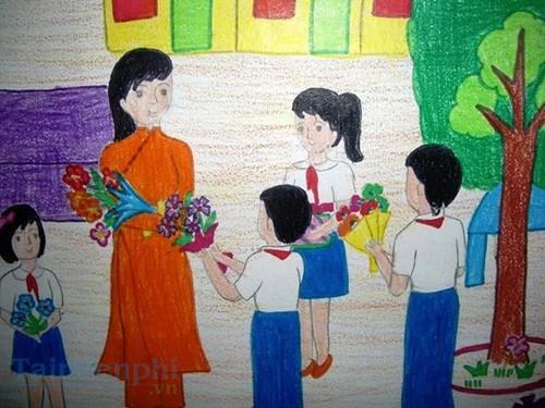 Bộ sưu tập tranh vẽ cô giáo và học sinh, tranh vẽ kỷ niệm 20/11 1