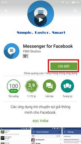 Cách chat Facebook bằng Messenger for Facebook