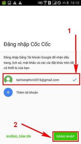 Đăng nhập Cốc Cốc bằng tài khoản Google trên điện thoại