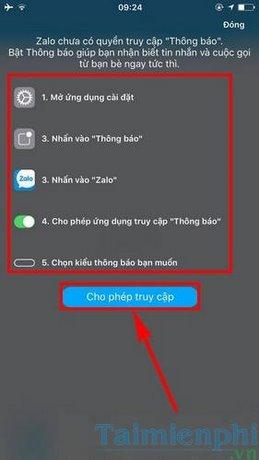 loi khong nhan duoc tin nhan zalo tren iphone