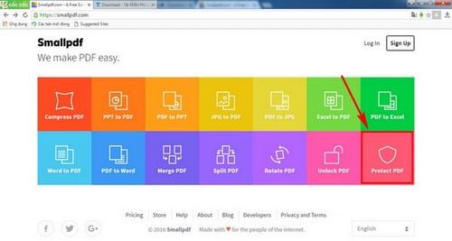 tao mat khau file pdf bang smallpdf