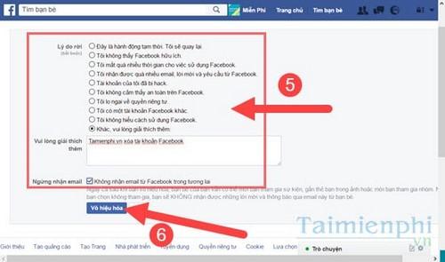 Xóa tài khoản Facebook trên máy tính, pc 4