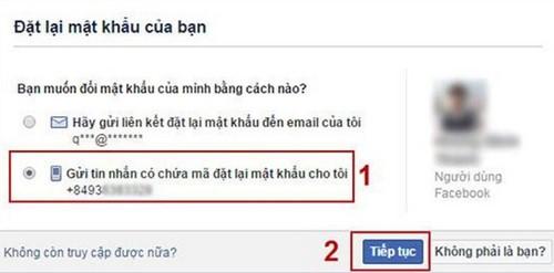 khoi phuc mat khau facebook