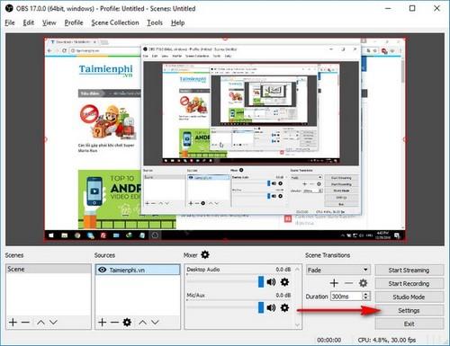 Chọn kích thước khung hình quay video trong OBS