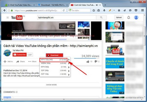 cah tai video youtube bang add ons tren firefox