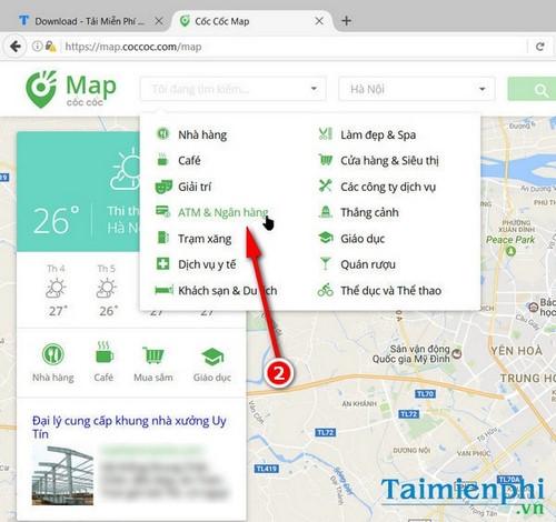 Sử dụng Cốc Cốc Map tìm cây ATM ngân hàng