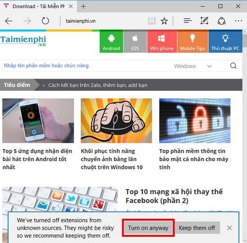 Thêm nút tìm kiếm với Google trên Edge