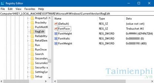 thay doi font chu trong registry windows 10