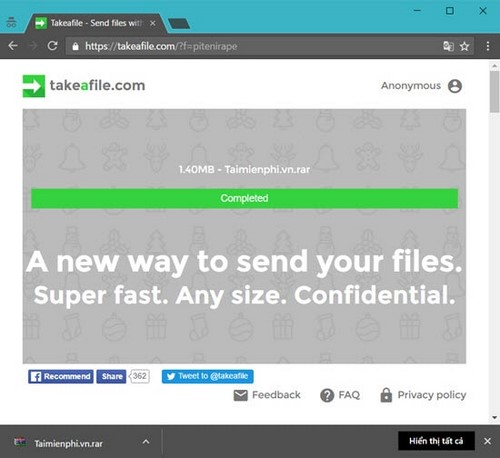 Cách chia sẻ file qua Take A File, dịch vụ chia sẻ file trực tiếp