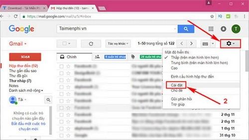 cai dat phim tat gmail