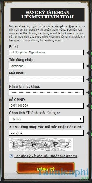 Cách đăng ký liên minh huyền thoại, tạo nick lmht trên máy tính 3