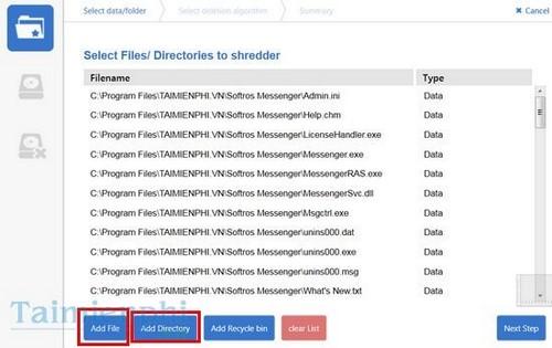 Xóa dữ liệu trên máy tính bằng FileWing Shredder