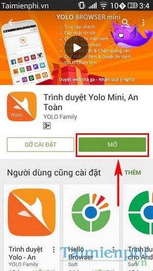 Yolo mini - Trình duyệt web tự chặn mã độc trên điện thoại