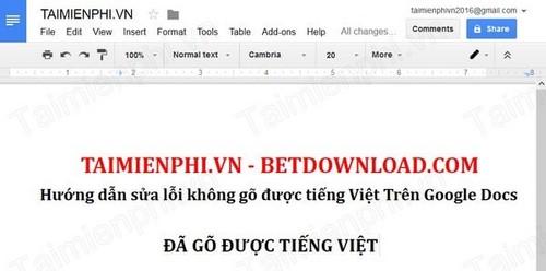 Sửa lỗi không gõ được tiếng Việt trên Google Docs