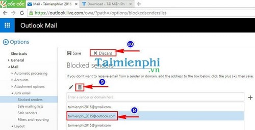 Chặn email trong Hotmail, Block email bất kỳ trong Hotmail