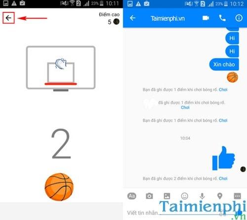 Chơi game bóng rổ trong Facebook Messenger